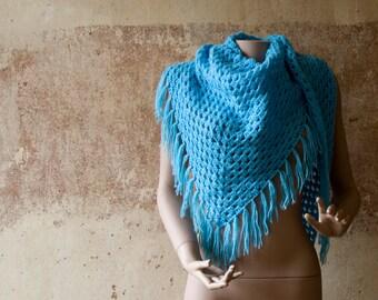 Large Baby Blue Fringed 70s Vintage Crochet Stole