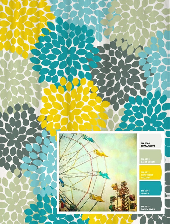 yellow and teal shower curtain. Shower Curtain in Yellow Blue Gray Floral Standard and Extra Long Lengths  70 74 78 84 96 inches Let s make one your colors