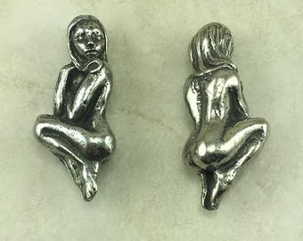 Naked Lady Green Girl Bead - Fantasy Female Feminie Goddess Pixie Focal Nude - American Artist Made Lead Free Pewter Silver 146
