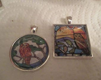 Stained Glass Owl Pendant or Scarf Slide, scarf jewelry, scarf ring - one item