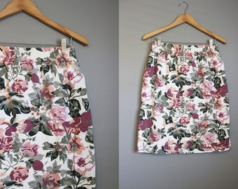 Floral Skirt Vintage Knit Mini 90s Party White Large