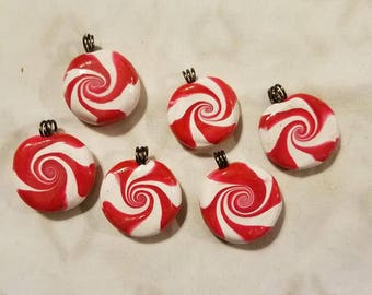 Polymer Clay Peppermint Twists-set of 6