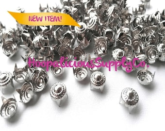 50 pcs- 8mm Floral Metal Prong Studs-Avail. in Silver or Gun Metal- DIY Clothing- Fast Shipping from USA w/ Tracking 4 Domestic Orders.