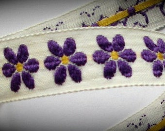 "Vintage Ribbon  - 5/8"" x 5  yds. Natural, Purple with Gold center of Flower- LSU Colors"