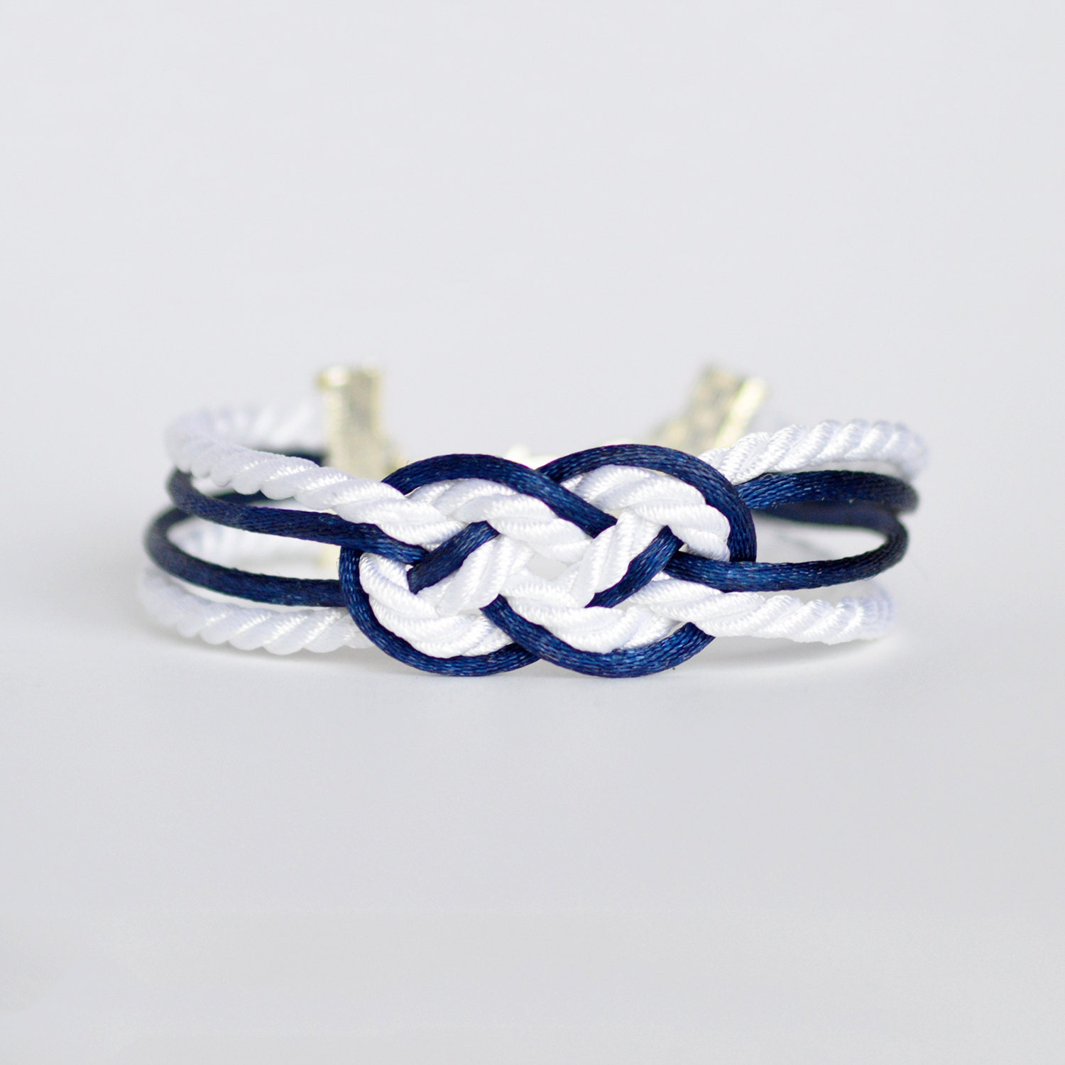 shiny c anchor silver rope nautical white braided with knot bracelet double infinity