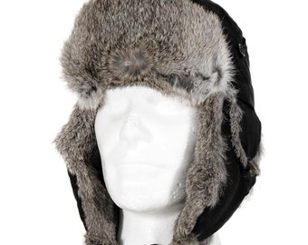 Ice Pilot Hat Cotton Black Rabbit Fur Hat