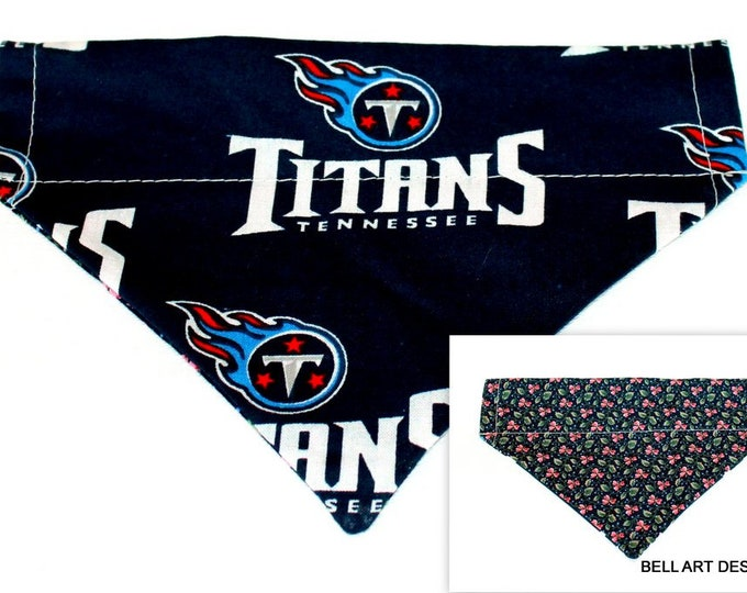 DOG BANDANA ~ Over the Collar ~ Reversible ~ Tennessee Titans ~ Bell Art Designs ~ Small DCS282