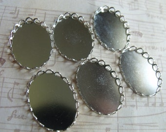 Lace Edged Silver Plated 25x18mm Settings 6 Pcs