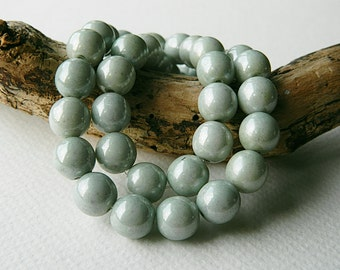 CLEARANCE...30% OFF...10 mm Sage Czech Glass Druk Beads, Glass Round Beads, Opaque Glass & Sage Luster(36pcs) 2.1.4