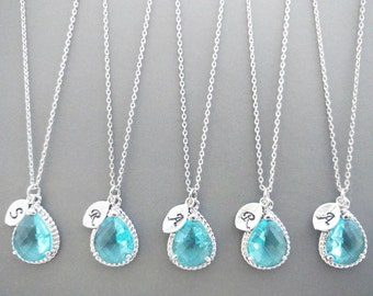 Set of 5-10, Personalized, Letter, Initial, Aquamarine, Sky blue, Glass, Silver, Necklace, Sets, Wedding, Bridesmaid, Bridal, Gift, Jewelry