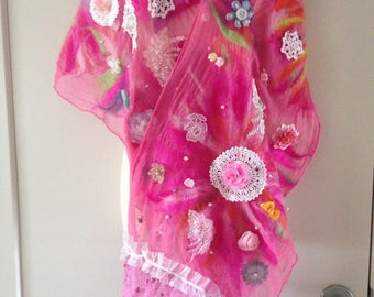 Pretty pink wearable art nuno felted embellished scarf, shawl