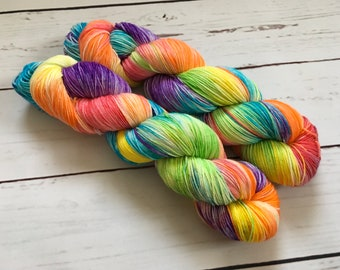 Skittles Hand Dyed Superwash Merino/ Nylon Sock Yarn