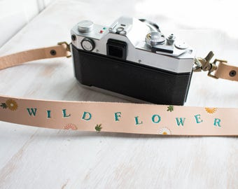Leather Camera Strap, Floral ,Sunflower camera strap, Wild Flower for women