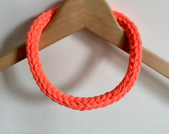 Fluorescent orange T-shirt yarn necklace - Gift for her - Day-glo necklace - florescent choker - Festival necklace - Festival jewellery