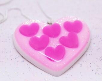 Pink Heart Necklace, Sweet Heart, Statement Necklace Pink, Bright Pink Necklace, Kawaii Necklace, Fairy Kei Necklace, Harajuku Fashion