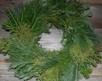 2 Plain Fresh Mix Maine Balsam Fir White Pine Cedar Plain Wreath 22""
