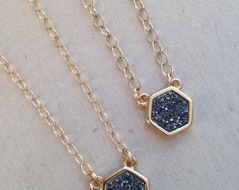 Black Druzy Necklace: Black Diamond Druzy Necklace, Druzy Necklace, Drusy Necklace, Black Druzy, Drusy Quartz, Bezel Necklace, Druzy Jewelry