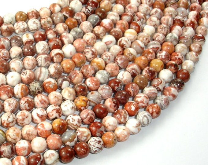 Mexican Crazy Lace Agate Beads, 6mm Round Beads, 15 Inch, Full strand, Approx 65 beads, Hole 1mm, A quality (202054021)