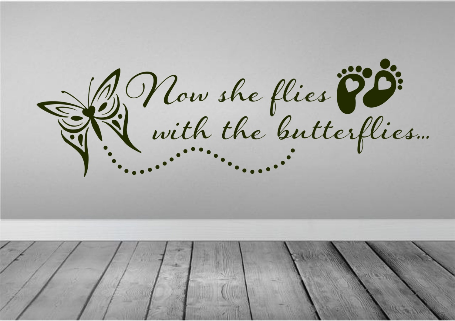 In Loving Memory Quotes Now She Flies With Butterflies Wall Decal Car Decal In