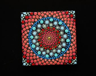 "Hand painted red, gold, and blue mandala on canvas 3"" x 3"" dot pointillism art"