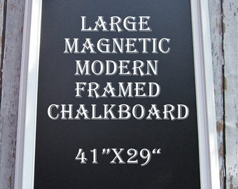 "LARGE KITCHEN CHALKBOARD Modern Frame Home Chalk board 41""x29"" White Framed Chalkboard Magnetic Modern Home Decor White Framed Chalk board"