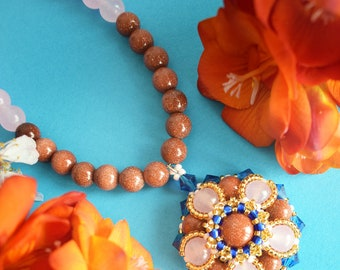 Sunstone and Rose Quartz Pendant Necklace, Beaded Necklace, Czech Crystals, Bohemian Jewelry, Boho Necklace