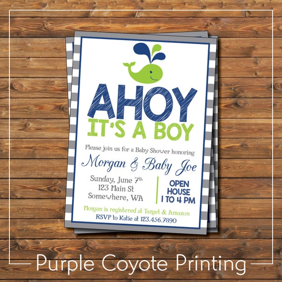 Ahoy its a boy baby shower invitation whale themed lime green filmwisefo