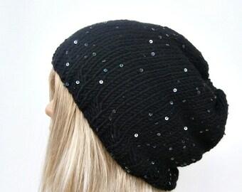 Slouchy black hat, knit hat, black knit hat, chunky knit hat, black slouchy hat, knit hat, knit slouchy hat CUSTOM COLORS
