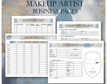 Makeup Artist Business Planner Bundle, Freelance Makeup Artist Forms, Makeup Artist Booking Form, Wedding Makeup Artist Contact Template