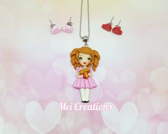 MISS Valentine's (Valentine's Day) Fimo, polymer clay, handmade necklace