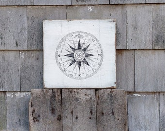 Vintage Mariners Compass sign on salvaged rough sawn wood hand-painted rustic crackled distressed MADE 2 ORDER