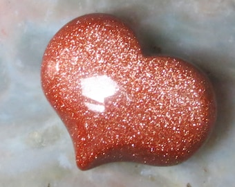 Goldstone Puffy Heart Worry Stone!