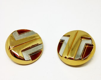 Super vintage round vintage earrings from Lanvin gilded metal, logo design with label, very good condition