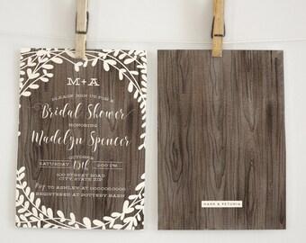 Rustic Wood Bridal Shower Invitation, Floral Wreath Bridal Shower Invitation, Boho Bridal Shower Invite, Envelope Liner