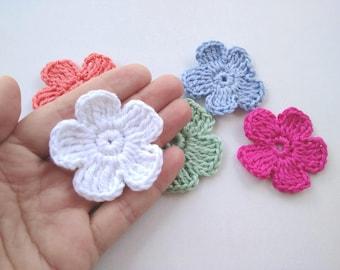 Small crochet flower etsy 10 pcs crochet 5 petal flower applique scrapbooking crocheted dt1010fo