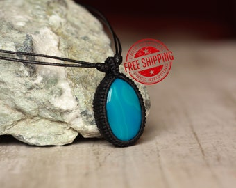 blue pendant agate pendant agate necklace blue necklace natural stone pendant mother gift for her sister gift gemstone pendant cord pendant