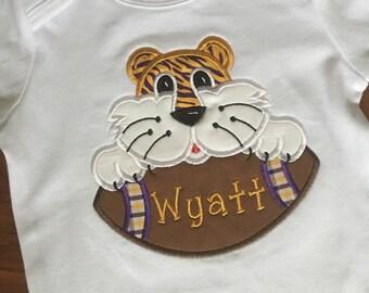 Boys Tiger Football Appliqué Face Shirt/Bodysuit/Romper-LSU-Football