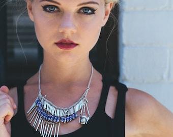Lavendel-Halskette, lila Halsketten für Frauen, lila Halskette Boho, Multistrand, Aussage Frau Geschenk, Xmas Frau Kette