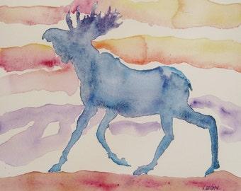 Moose watercolor painting, Original watercolor moose painting