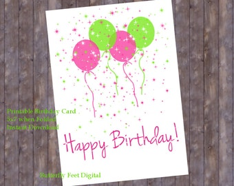 Printable Birthday Card, Pink and Green, Balloons and Confetti Sprinkles, Instant Download