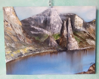 Vintage Spatula, Inspiration Costa di Baunei (Sardinia) Oil on canvas