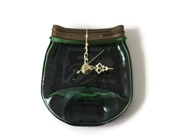 melted mason jar, green Ball mason jar, handmade wall clock, mason jar art, kitchen clock, pint canning jar, recycled mason jar
