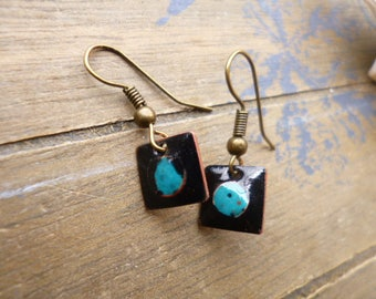 small earrings - dark turquoise squares - enameled copper discreet - small square black earrings turquoise earrings