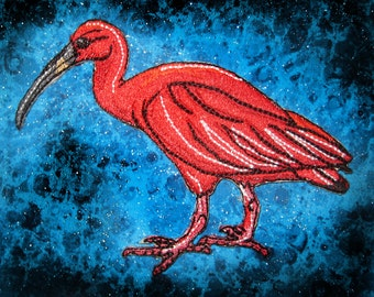 The Scarlet Ibis Eudocimus ruber Iron On Patch