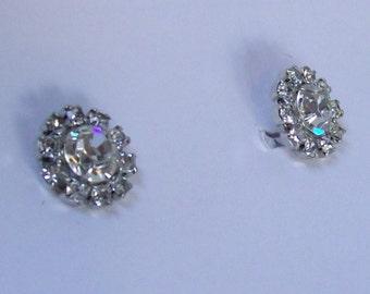 Vintage Flower Clear Crystal Rhinestone Earrings