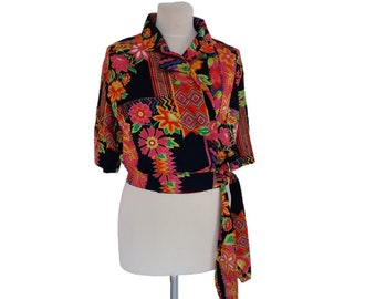 Vintage Cotton, colorful tie Waist Button-Down Top, Short sleeves