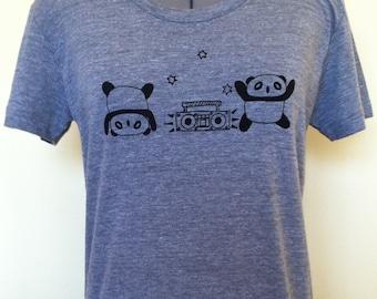 Panda T Shirt Frolic Feminine Cut Athletic Grey Sizes Small through XLarge