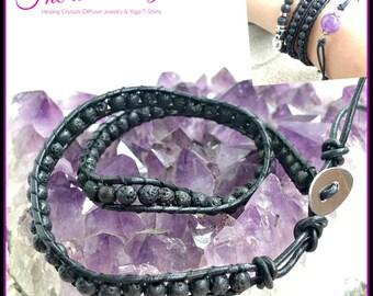 Wrap Bracelet. Essential Oil Diffuser Bracelet. Beaded Bracelet. Lava Bead Bracelet. Gemstone Bracelet. Boho Bracelet. Aromatherapy Bracelet