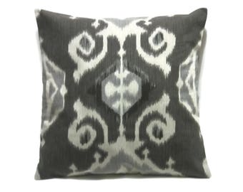 Decorative Pillow Cover Charcoal Graphite Gray White Ikat Design Same Fabric Front/Back Toss Throw Accent  18x18 inch