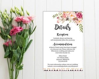 Tribal Boho Wedding Details Card, Printable Wedding Detail Insert Card, Floral Details Card, Extra Information Card, Download, 109-W